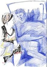 tekening, tineke lemmens, vrouw, trein