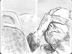 Tekening Dan Peterson© (met toestemming). Klik op het plaatje voor Dan's sketchbook.